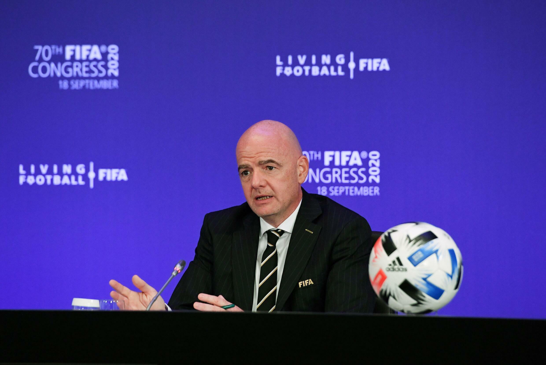 Le président de la Fifa Gianni Infantino s'exprimant devant le 70e congrès virtuel de l'instance  depuis Zurich, le 18 septembre 2020