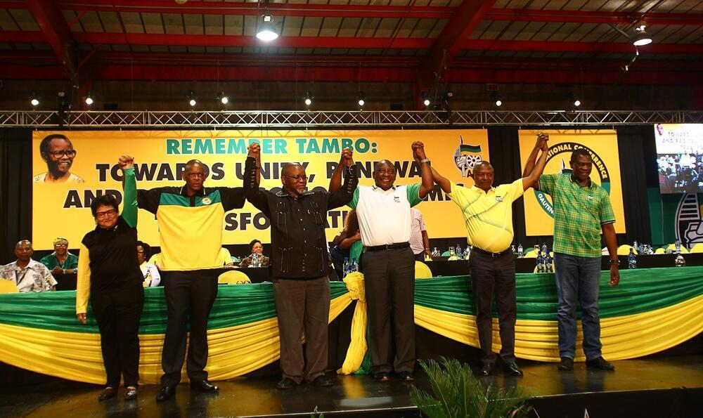 President Cyril Ramaphosa hold hands with the new members of the ANC top 6, after their endorsement at the 54th ANC elective conference at Nasrec, 17 December, 2017