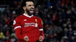 Dan wasan kungiyar Liverpool Mohamed Salah yayin murnar zura kwallo ta 4 a ragar Watford.