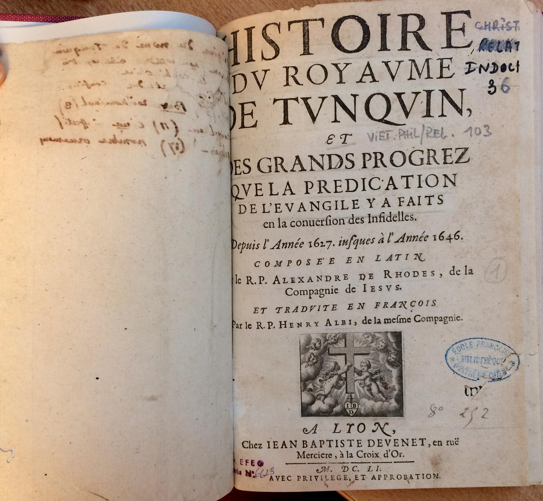 Bìa cuốn sách Lịch sử Vương quốc Bắc Kỳ, xuất bản năm 1646, EFEO, Paris.