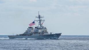 Khu trục hạm Mỹ USS Stethem được phái đi qua eo biển Đài Loan ngày 28/04/2019.