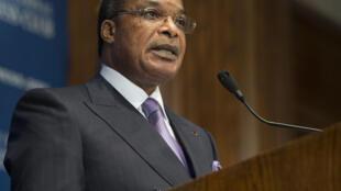 Le président de la République du Congo Denis Sassou Nguesso en conférence de presse avant le sommet Etats-Unis/Afrique à Washington, le 1er août 2014.