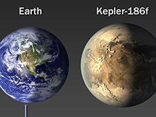 Animação da Nasa para comparar algumas características do exoplaneta Kepler-186f com a Terra.