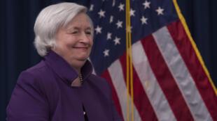 Janet Yellen, entonces presidenta de la Reserva Federal, llega a una rueda de prensa el 14 de junio de 2017 en Washington