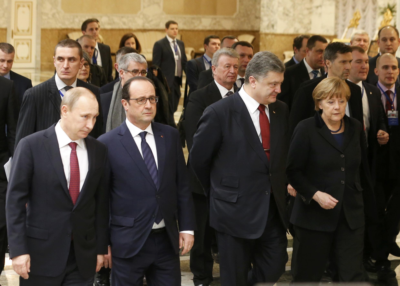 Vladimir Putin, François Hollande, Petro Porochenko, Angela Merkel - Minsk, 12 Feb.