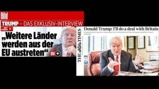 A poucos dias da posse, o presidente eleito dos Estados Unidos, Donald Trump, deu entrevistas a dois jornais europeus neste domingo, o britânico The Times e o alemão Bild.
