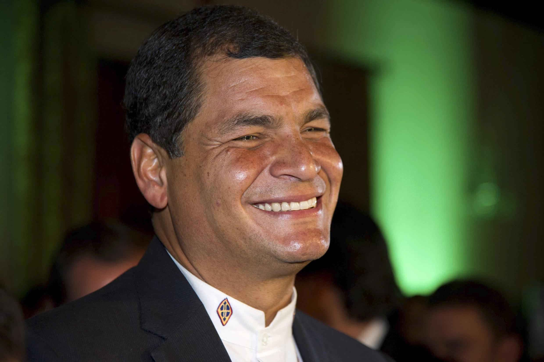 Rafael Correa, le jour de sa réélection à la tête de l'Equateur, le 17 février 2013