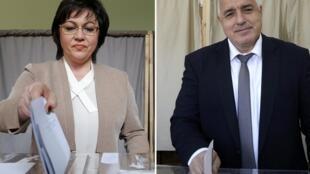 Lãnh đạo đảng xã hội PSB, bà Kornelia Ninova (trái) và lãnh đạo trung hữu GERB, Boiko Borisssov, bỏ phiếu bầu Quốc Hội, Sofia, 26/03/2017.