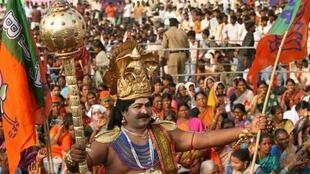A supporter of the oppositon BJP, dressed as Lord Yamaraj, the god of death, at an anti-corruption protest last week