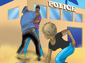 Kwame akipambana kumwokoa Natalie mikononi mwa polisi mwenye nia mbaya