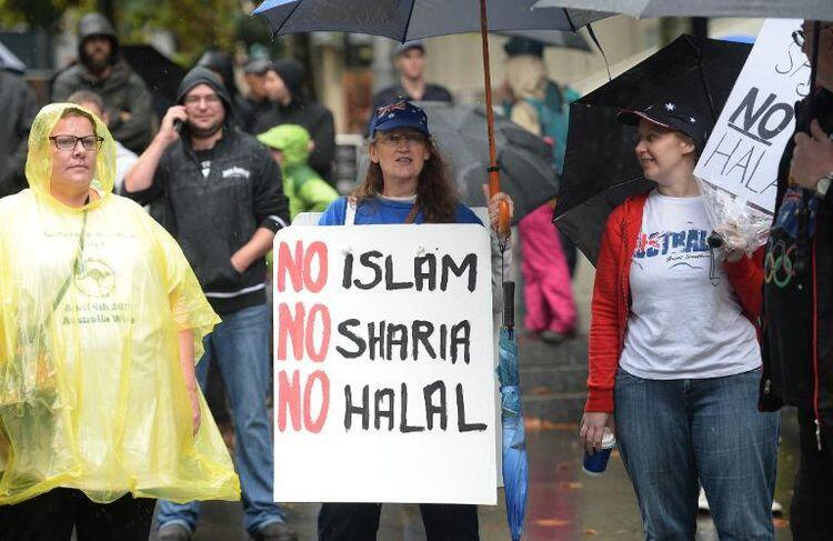 Антиисламистская акция в Сиднее, Австралия, 4 апреля 2015 г.