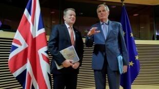 (Illustration) Michel Barnier et David Frost, les deux négociateurs en chef, en mars 2020 à Bruxelles.