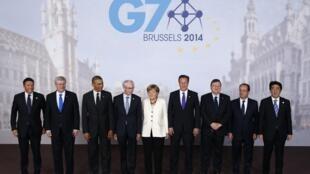 Foto de grupo de los líderes del G7, este 5 de junio del 2014 en Bruselas.