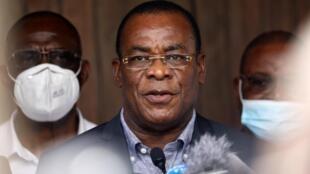 Pascal Affi N'Guessan, président du Front populaire ivoirien (FPI) et candidat à la présidentielle de 2020, durant une conférence de presse à Abidjan, le 1er novembre 2020.