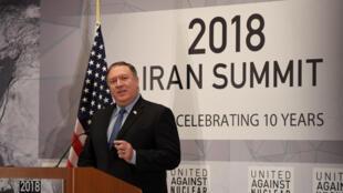 مایک پمپئو وزیر امور خارجۀ آمریکا در اجلاس اختصاص یافته به ایران در حاشیۀ محمع عمومی سازمان ملل متحد - ٢۵ سپتامبر ٢٠١٨