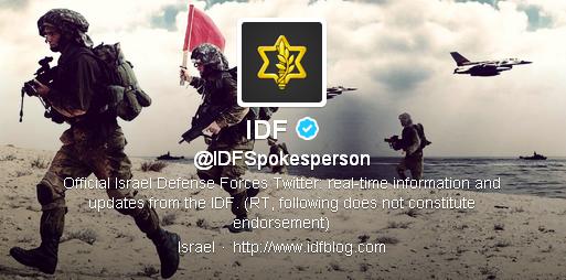 Le compte Twitter officiel de l'armée israélienne.