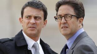 左為法國總理瓦爾斯,右為法國總統前顧問莫瑞勒。