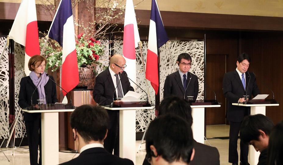 """2018年於日本舉行的法日""""2+2""""會談資料圖片"""