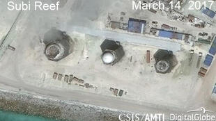 Construction is shown on Subi Reef, in the Spratly Islands, the disputed South China Sea in this March 14, 2017 satellite image released by CSIS Asia Maritime Transparency Initiative at the Center for Strategic and International Studies (CSIS) to Reuters o