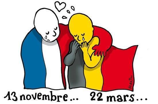 Париж утешает Брюссель: рисунок французского карикатуриста Plantu для издания Le Monde