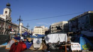 Los 'indignados españoles' tienen cita en  la Puerta del Sol de Madrid, el 23 de julio de 2011.