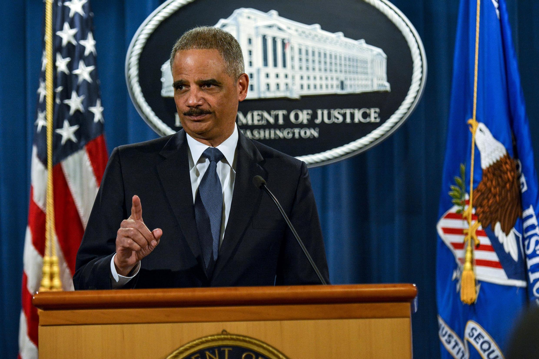 Eric Holder se expresa sobre las investigaciones relativas a Ferguson, Missouri, Washington, 4 de marzo de 2015.