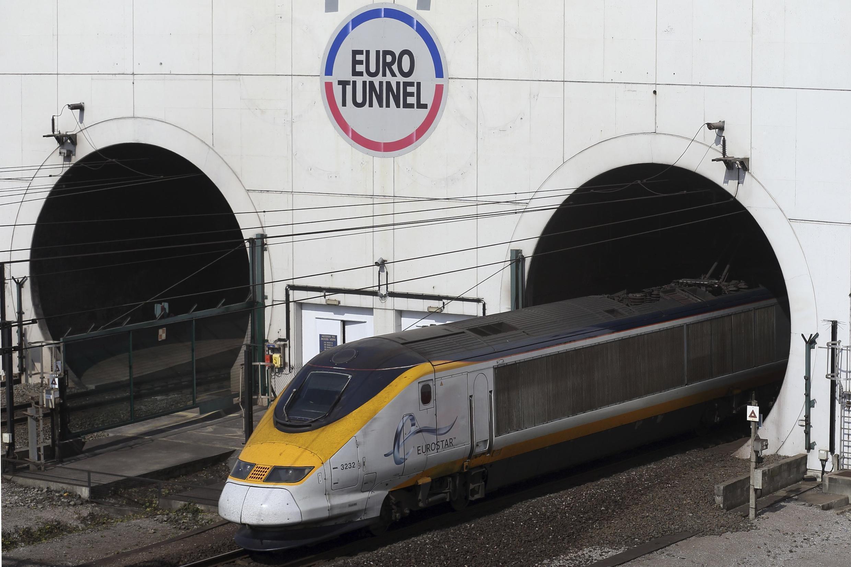 High-speed Eurostar train exits the Channel tunnel near Calais 5 May 2014.