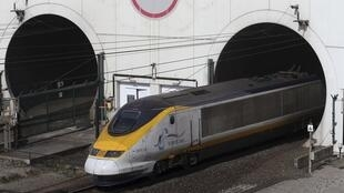 High-speed Eurostar train exits the Channel tunnel near Calais 5 May 2014.
