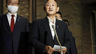 日本新当选首相菅义伟2020年9月20日举行上任后首次记者会。
