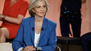 Regional election candidate for the presidency of the Ile-de-France region Valerie Pecresse (Libres !, right) looks on before the start of a televised debate in Paris on June 14, 2021, few days ahead of the first round of France's Regionales Elections on June 20.
