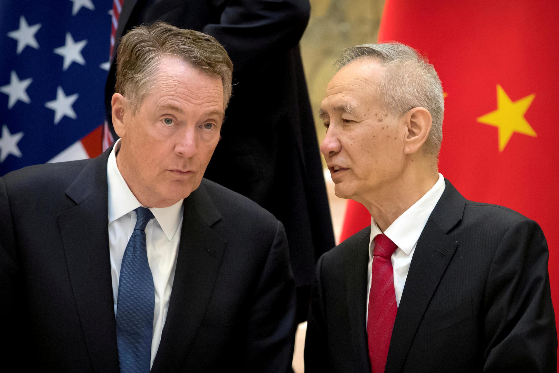 美國貿易代表萊特希澤與中國副總理劉鶴2019年 2月15日在北京