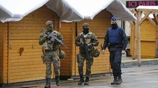 Belgian soldiers on the streets of Brussels Saturday
