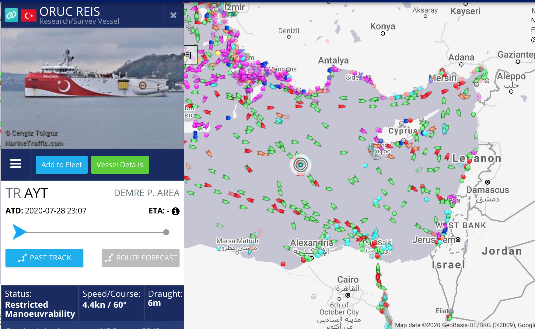 Position on 24 August 2020 of the Turkish exploration vessel Oruc Reis