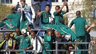 South Africa's national soccer team celebrate in Johannesburg before the start of the World Cup