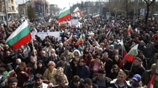 Manifestación contra la pobreza y el sistema político, el pasado 3 de marzo en Sofía.