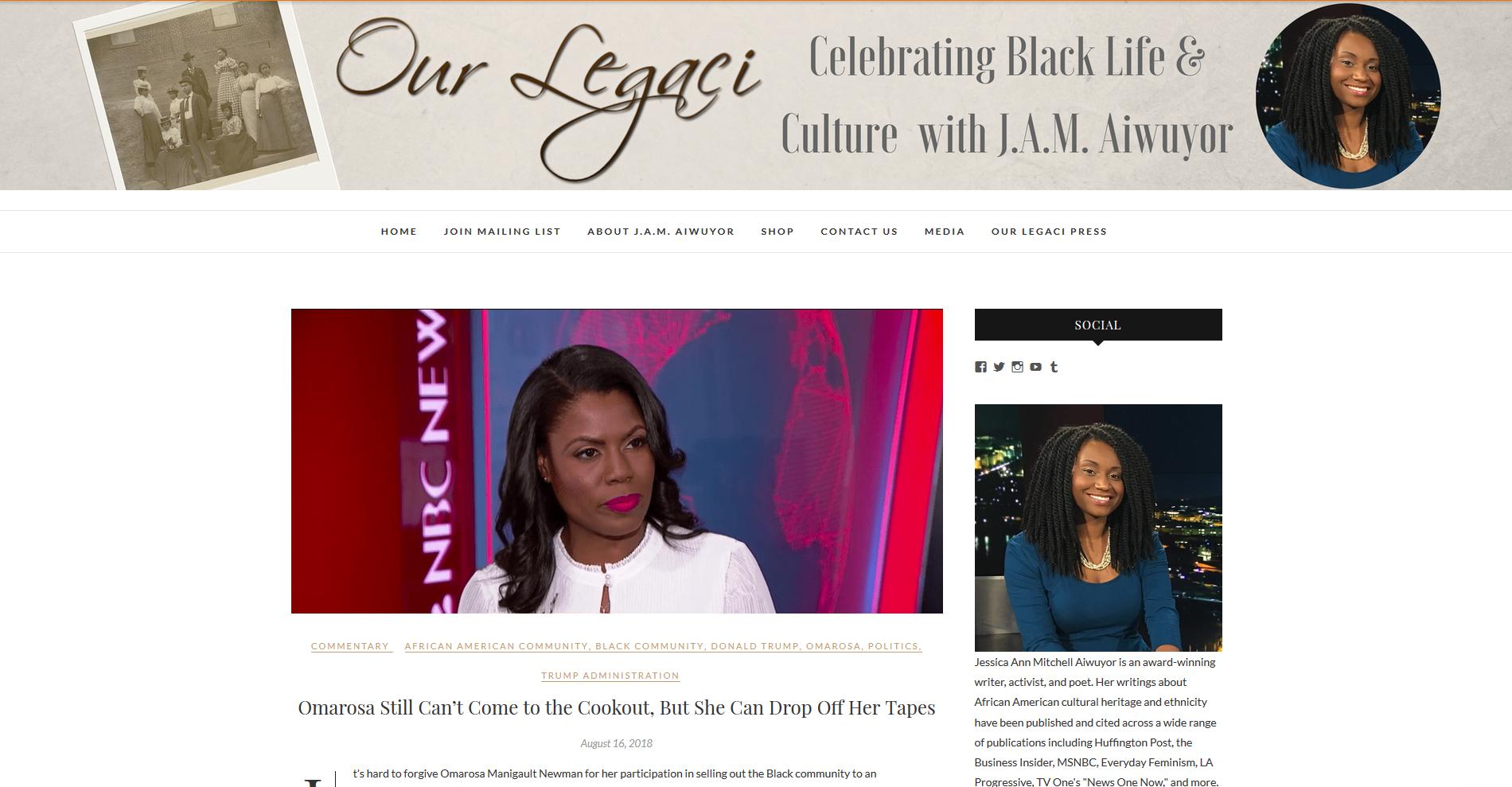 OurLegaci.com est le site de Jessica Ann Mitchell Aiwuyor, jeune Afro-américaine qui valorise la culture noire aux Etats-Unis via son blog et ses participations à des émissions.