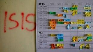 恐怖组织蔓延到全世界。图为菲律宾马拉维一间学校墙上写着伊斯兰国恐怖组织的缩写