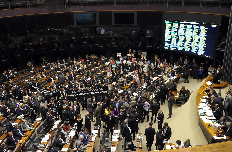O presidente da Câmara, Eduardo Cunha, durante sessão no plenário da Câmara, destinada a continuar as votações da PEC da maioridade penal (PEC 171/93), no Congresso Nacional. 01/07/15