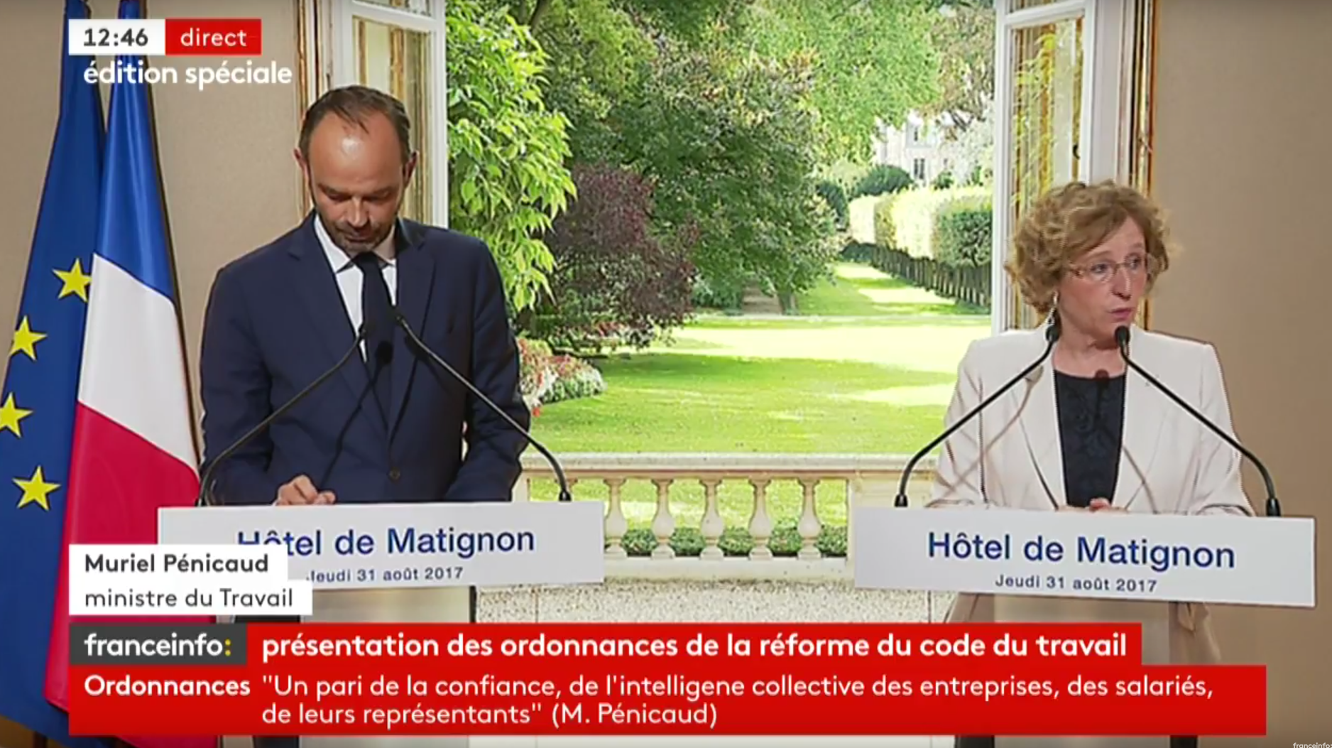 Muriel Pénicaud, Minister for Labour, and Prime Minster Édouard Philippe presenting the new Labour law reform