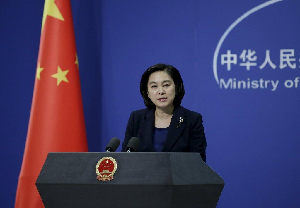 中國外交部 發言人華春瑩在一次例行記者會上。