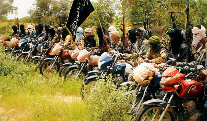 Screen grab of a video by the Group to Support Islam and Muslims showing jihadists based in central Mali