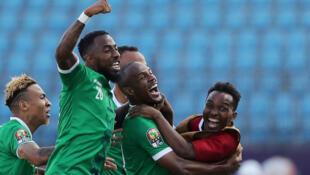 Ibrahim Amada (c) célèbre son but face à la RDC, le 7 juillet 2019.
