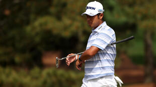 Japan's Hideki Matsuyama eagled the par-5 eighth to share the lead early in the first round of the 85th Masters on Thursday
