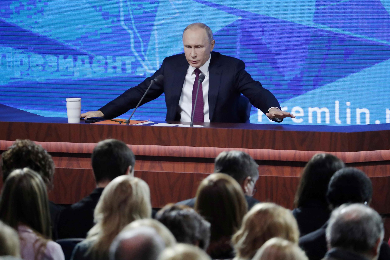 Tổng thống Nga Vladimir Putin tại cuộc họp báo thường niên tại Mátxcơva (Nga) ngày 20/12/2018.