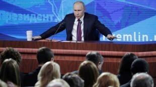 Le Président Vladimir Poutine lors de sa Conférence de presse annuelle, le 20 décembre 2018.