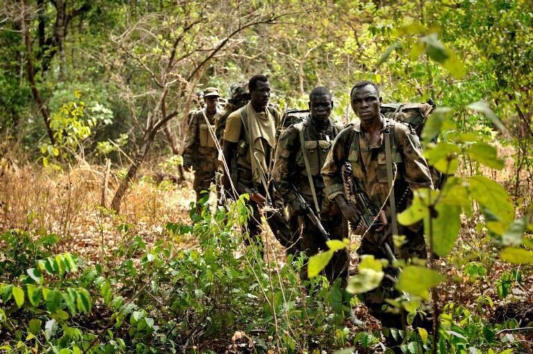 Une patrouille l'armée ougandaise dans la jungle sur les traces des rebelles de la LRA, en avril 2012.