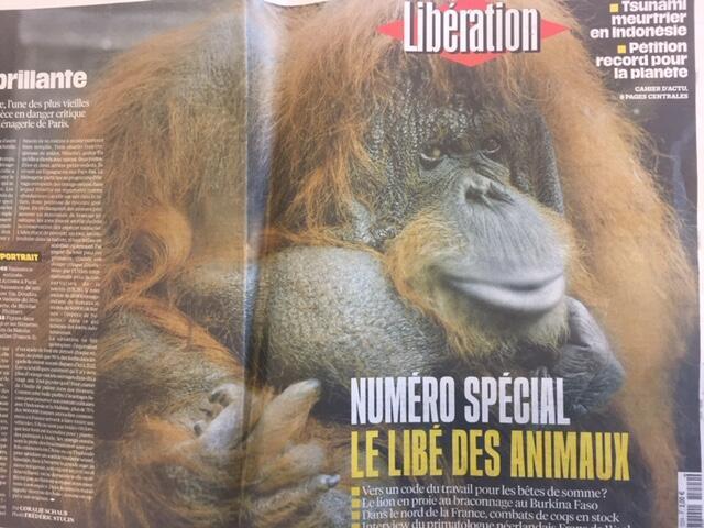 Capa do jornal Libération sobre os direitos dos animais.