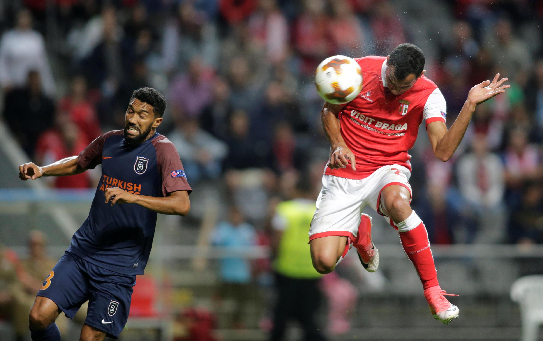 Fransérgio, médio brasileiro do Sporting de Braga, apontou, neste cabeceamento, o segundo golo dos bracarenses, que deu a vitória frente aos turcos do Istambul Basaksehir.