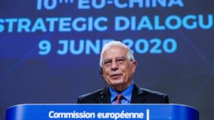 Lãnh đạo Ngoại Giao Liên Âu, Josep Borrell phát biểu trong cuộc đối thoại chiến lược EU-Trung Quốc lần thứ 10 (qua vidéo) ngày 09/06/2020.