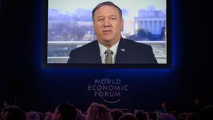 達沃斯經濟論壇開幕當天,美國國務卿蓬佩奧視頻會議說:對與中國貿易談判持樂觀態度